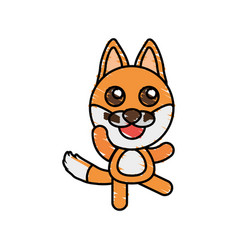 drawing fox animal character vector image
