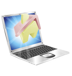 home icon laptop concept vector image vector image