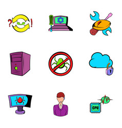 hacker icons set cartoon style vector image