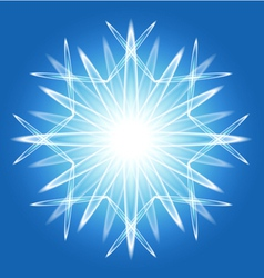 Abstract snowflake over blue vector image vector image