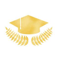 golden graduation cap with laurel wreath vector image