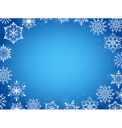 Greeting card with azure snowflakes vector image