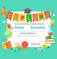 kids diploma certificate vector image