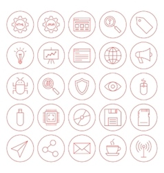 Line computer circle icons vector