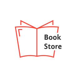 red thin line book store logo vector image vector image