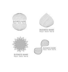 abstract grid shapes logo icon symbols set vector image