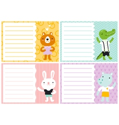 Cute note cards for kids vector image vector image
