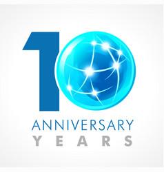 10 anniversary connecting logo vector