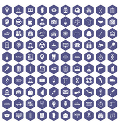 100 business day icons hexagon purple vector