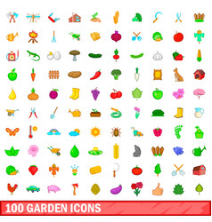 100 garden icons set cartoon style vector