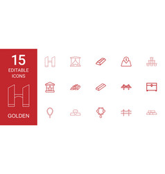 15 golden icons vector image