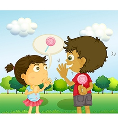 A boy talking to a young girl with a lollipop at vector