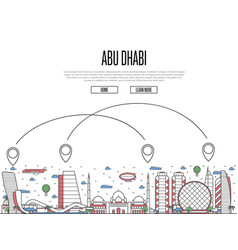 Air travel to abu dhabi poster in linear style vector