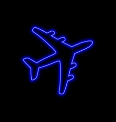 Airplane neon sign bright glowing symbol on a vector