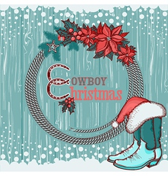 American cowboy Christmas background on wood vector image