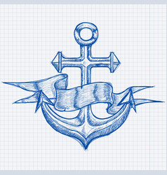 anchors with blank ribbon banner hand drawn vector image