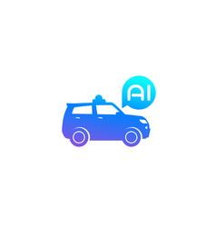 Autonomous car suv with ai icon vector
