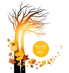 Autumn leaves and silhouette of a tree vector