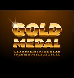 Award sign gold metal with premium 3d font vector