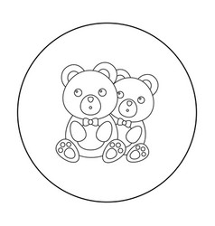Bears icon in outline style isolated on white vector