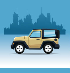 beige jeep sport city background vector image