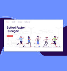 Better faster stronger landing page template vector