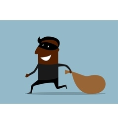 black thief running with sack loot vector image