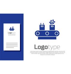 Blue conveyor belt with cardboard box icon vector