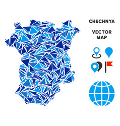 Blue triangle chechnya map vector