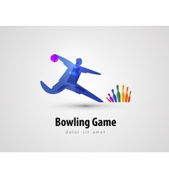 bowling logo design template game or entertainment vector image