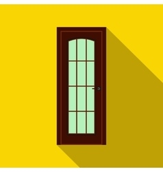 Brown wooden door icon flat style vector image