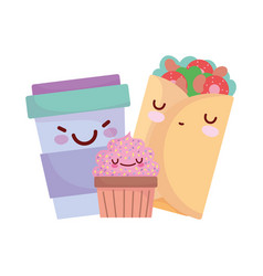 burrito cupcake smoothie cup menu character vector image