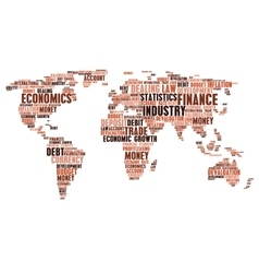 Business finance word cloud tags world map shape vector image