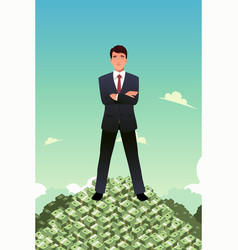 Businessman standing on top of pile of money vector
