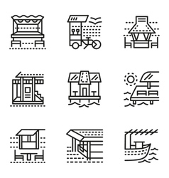 Cafe and bungalows simple line icons vector image