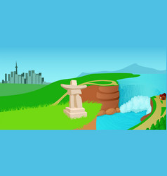 canada landscape horizontal banner cartoon style vector image