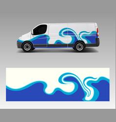 Car decal van with wave sea designs wrap designs vector