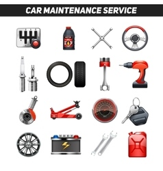 Car Maintenance Service Flat Icons set vector image
