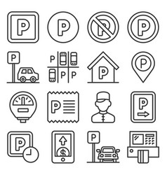 car parking icons set on white background line vector image