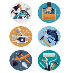 Carpenter tools realistic compositions icons vector