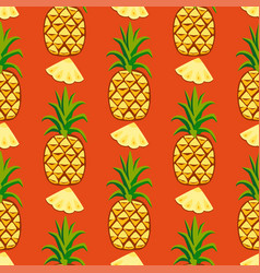 Cartoon fresh pineapple fruits in flat style vector