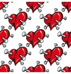 Cartoon nailed red hearts seamless pattern vector image
