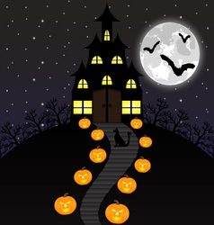 Castle witches and pumpkins on Halloween vector image