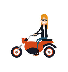 character woman female driving motorcycle vector image