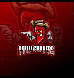 chilli gunners esport mascot logo vector image