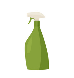 Cleaning agent spray green plastic bottle vector