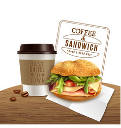 Coffee sandwich fast food realistic advertisement vector