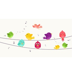 Colorful Birds on wire vector