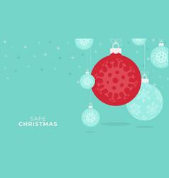 corona christmas concept flat cartoon xmas balls vector image