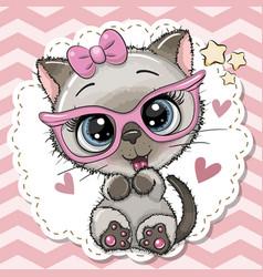 Cute cat girl in pink eyeglasses vector